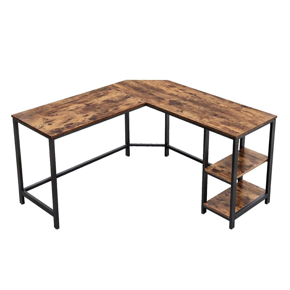 Rohový pracovní stůl Lera, 138 cm, hnědá / černá