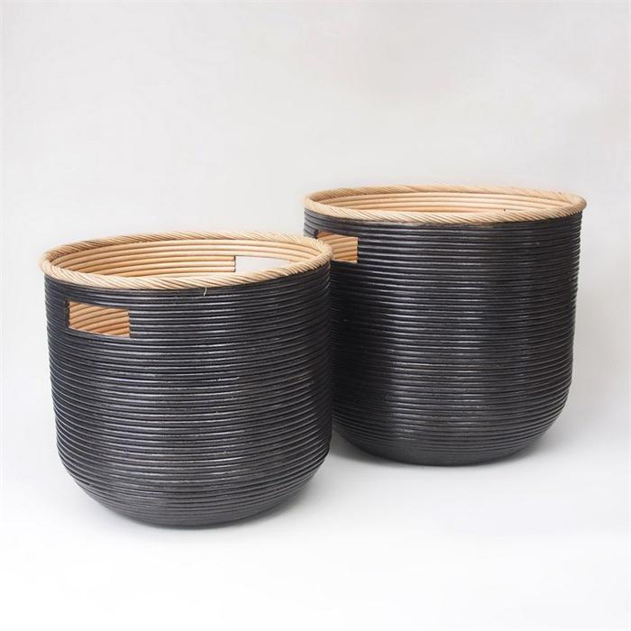 Sada 2 ratanových košíků Wind, 45 cm, černá