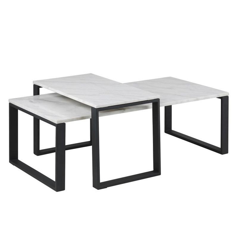 Sada konferenčních stolků Tracy, 2 ks, mramor/černá