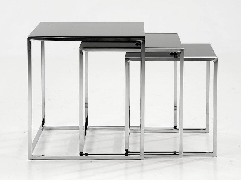 Sada konferenčných stolíkov Counter, 3 ks, čierna / chróm