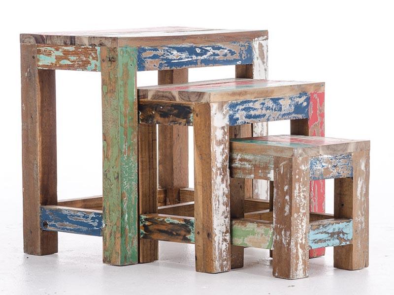 Sada teakových konferenčných stolíkov Erica, 3 ks, viac farieb