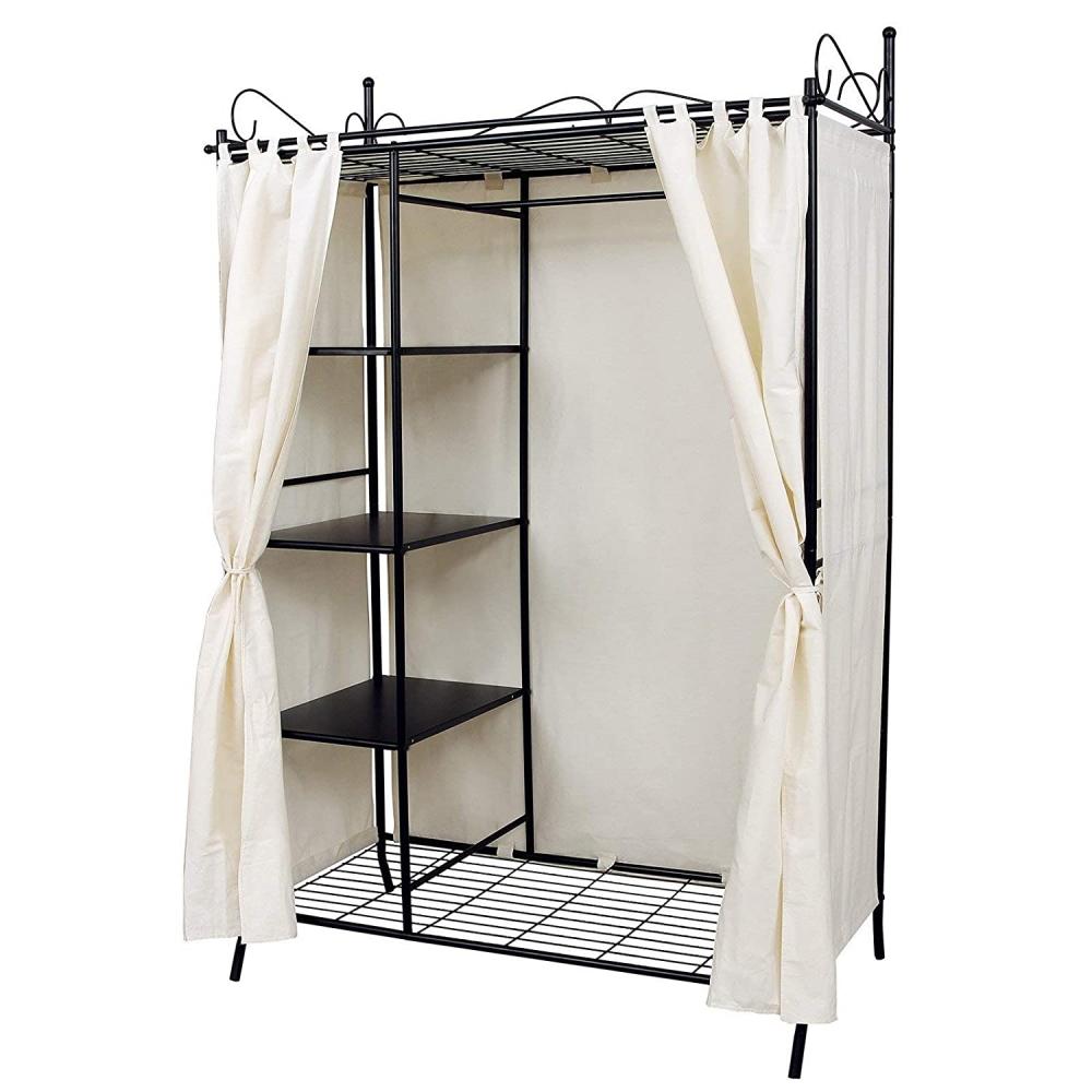 Šatní skříň Heriet, 170 cm, černá