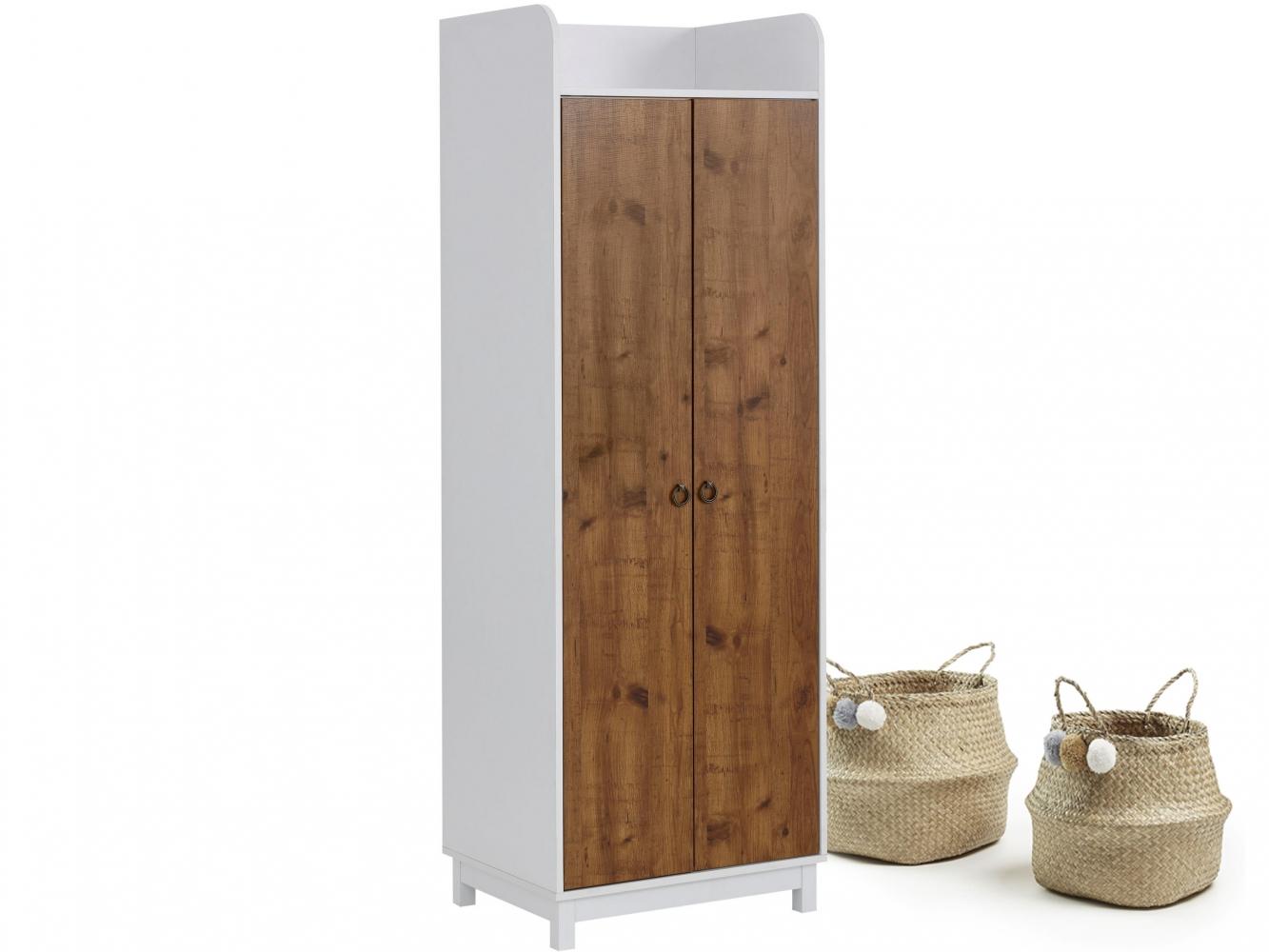 Šatní skříň Livat, 180 cm, bílá/dub
