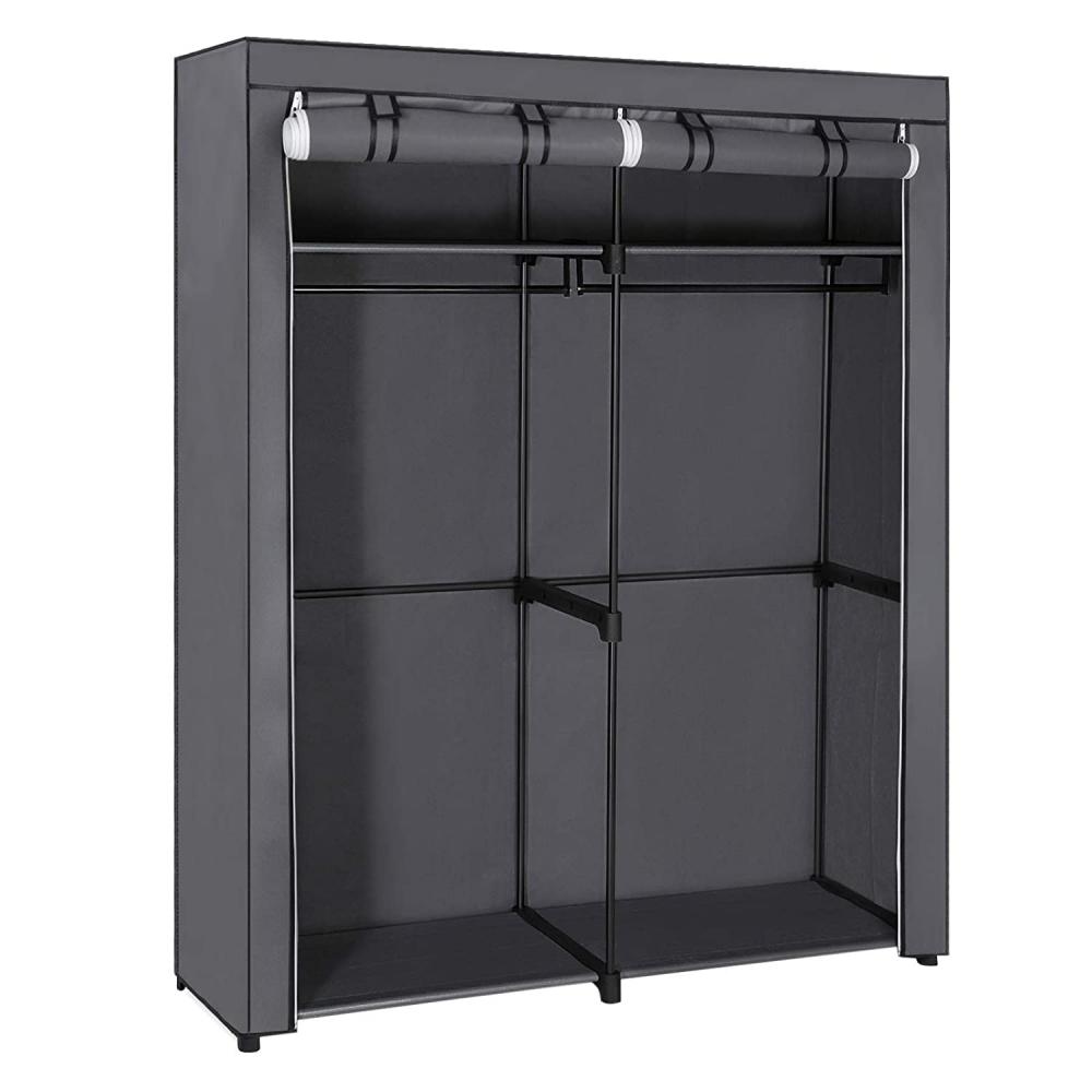 Šatní textilní skříň Berry, 174 cm, šedá