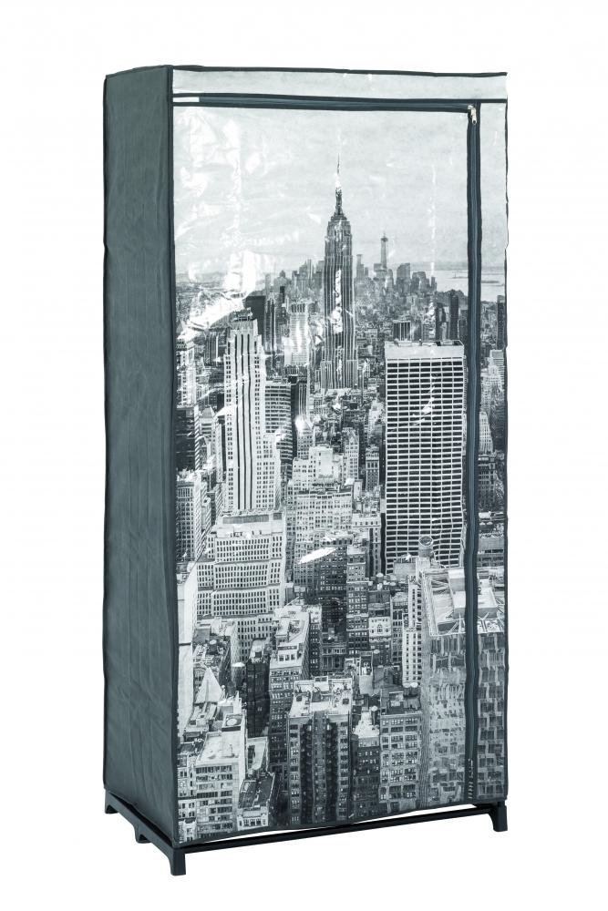 Šatní textilní skříň Horizonta, 160 cm, šedá / černá