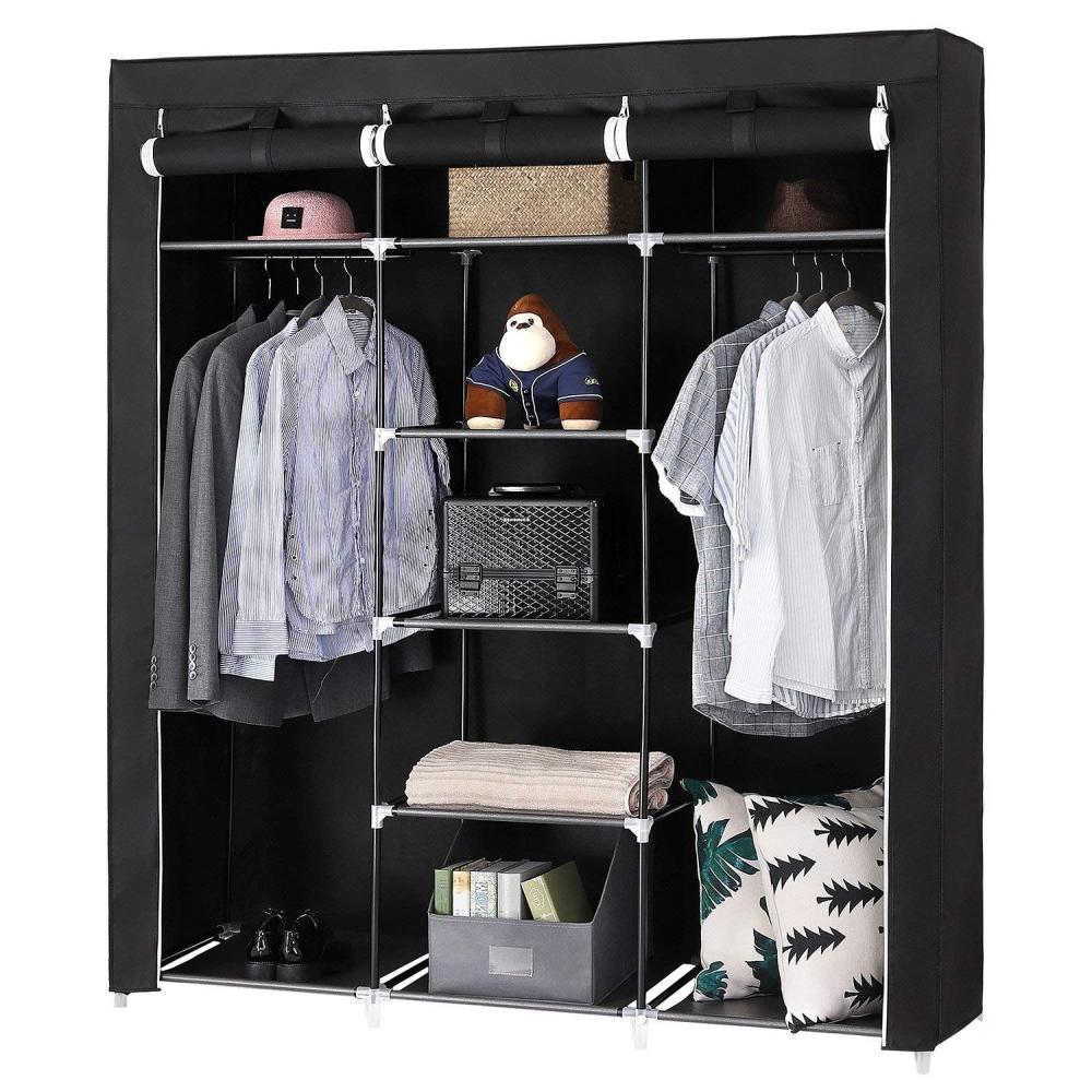 Šatní textilní skříň Lusila, 175 cm, černá