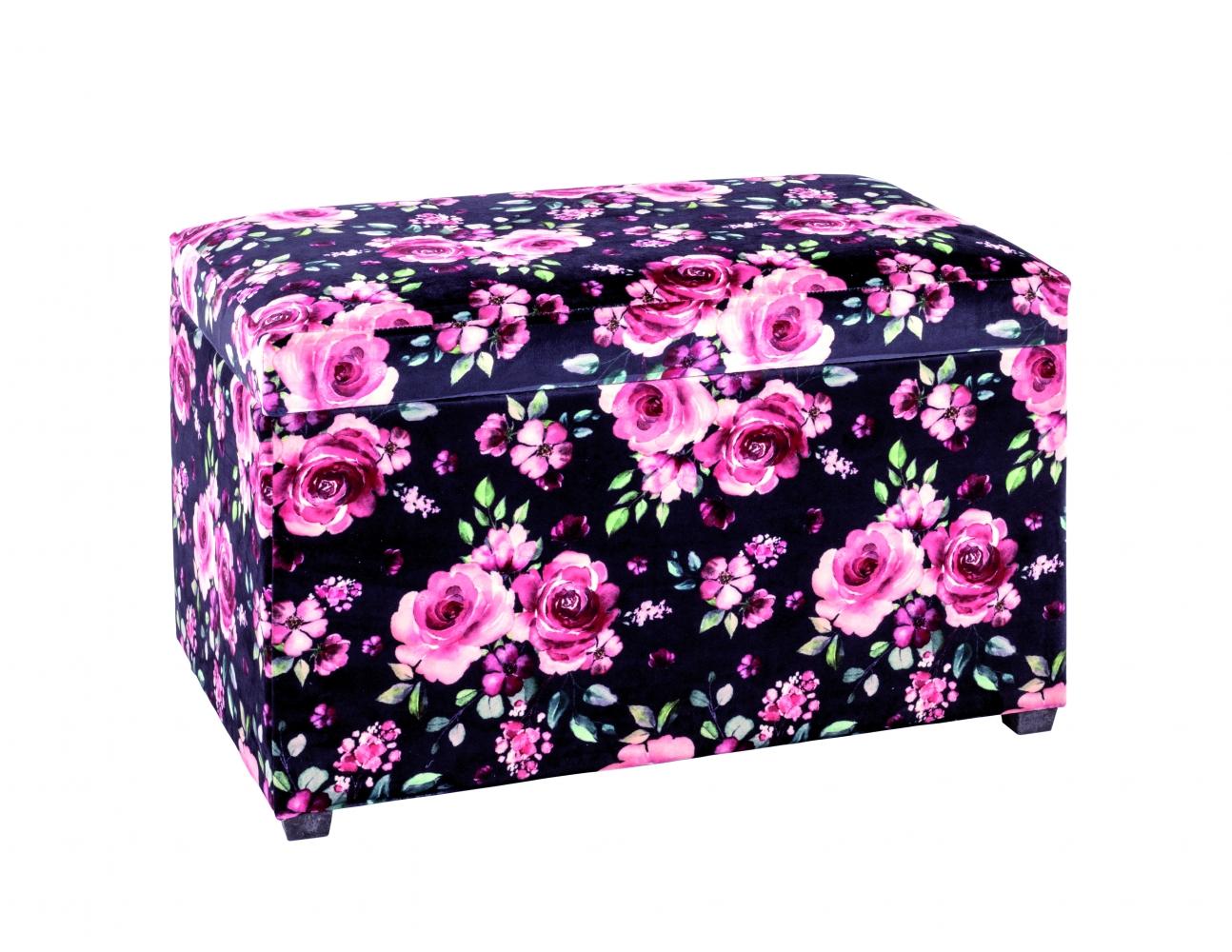 Sedák Rose s úložným prostorem, 65 cm, černá