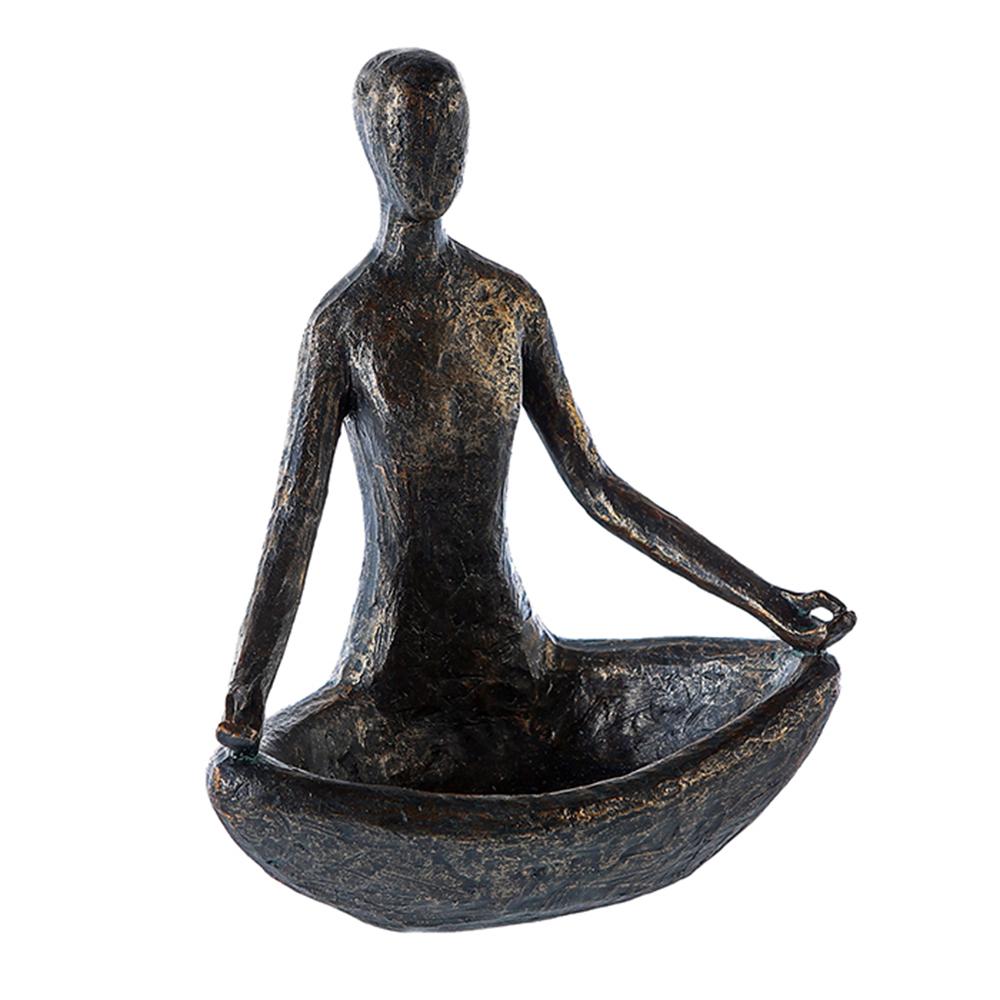Sedící figura s miskou Yoga, 24 cm