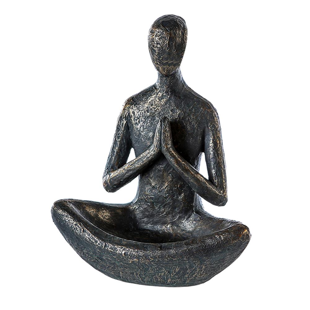 Sedící figura s miskou Yoga, 25 cm
