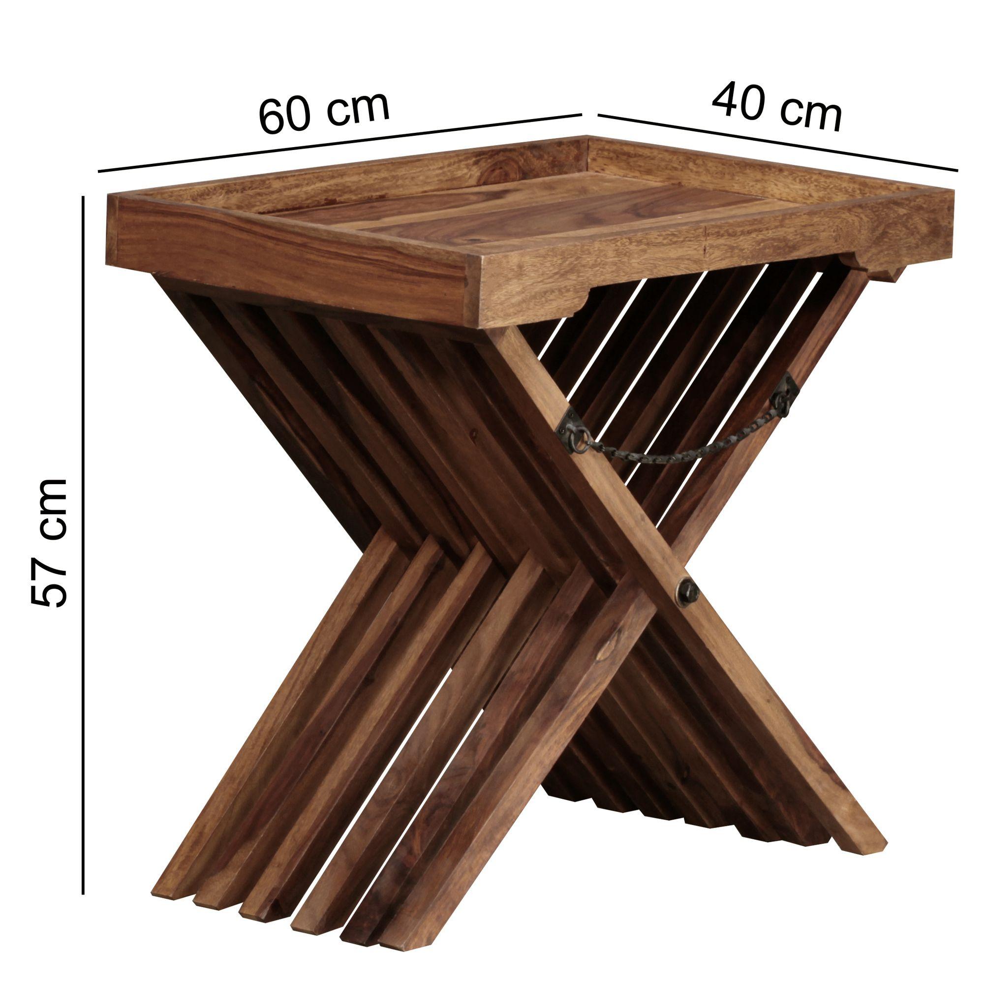 Servírovací / odkládací stolek Mumbai skládací, 60 cm, masiv Sheesham