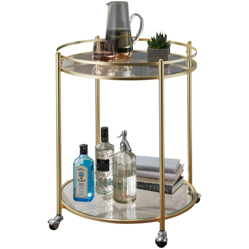 Servírovací stolek Gabi, 75 cm, zlatá / čirá