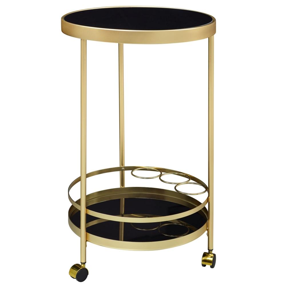 Servírovací stolek Helm, 76 cm, zlatá / černá