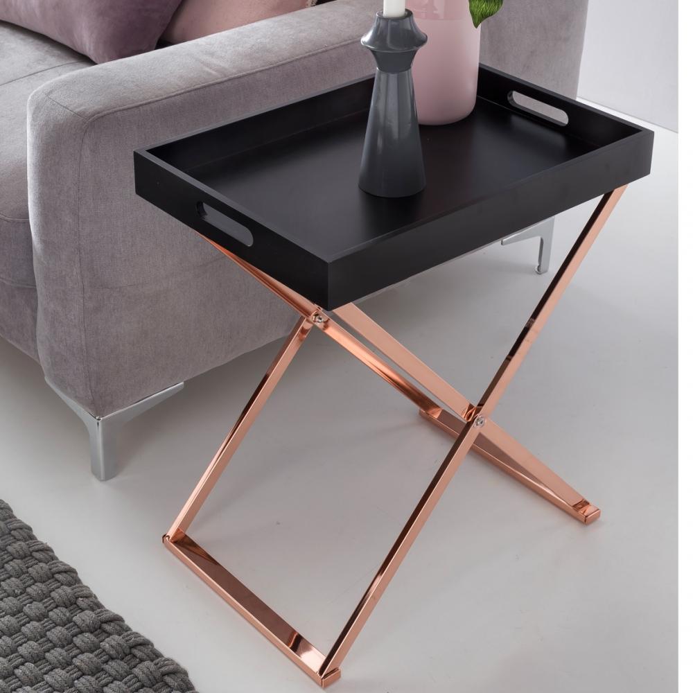 Servírovací stolek Lola, 61 cm, černá / měděná
