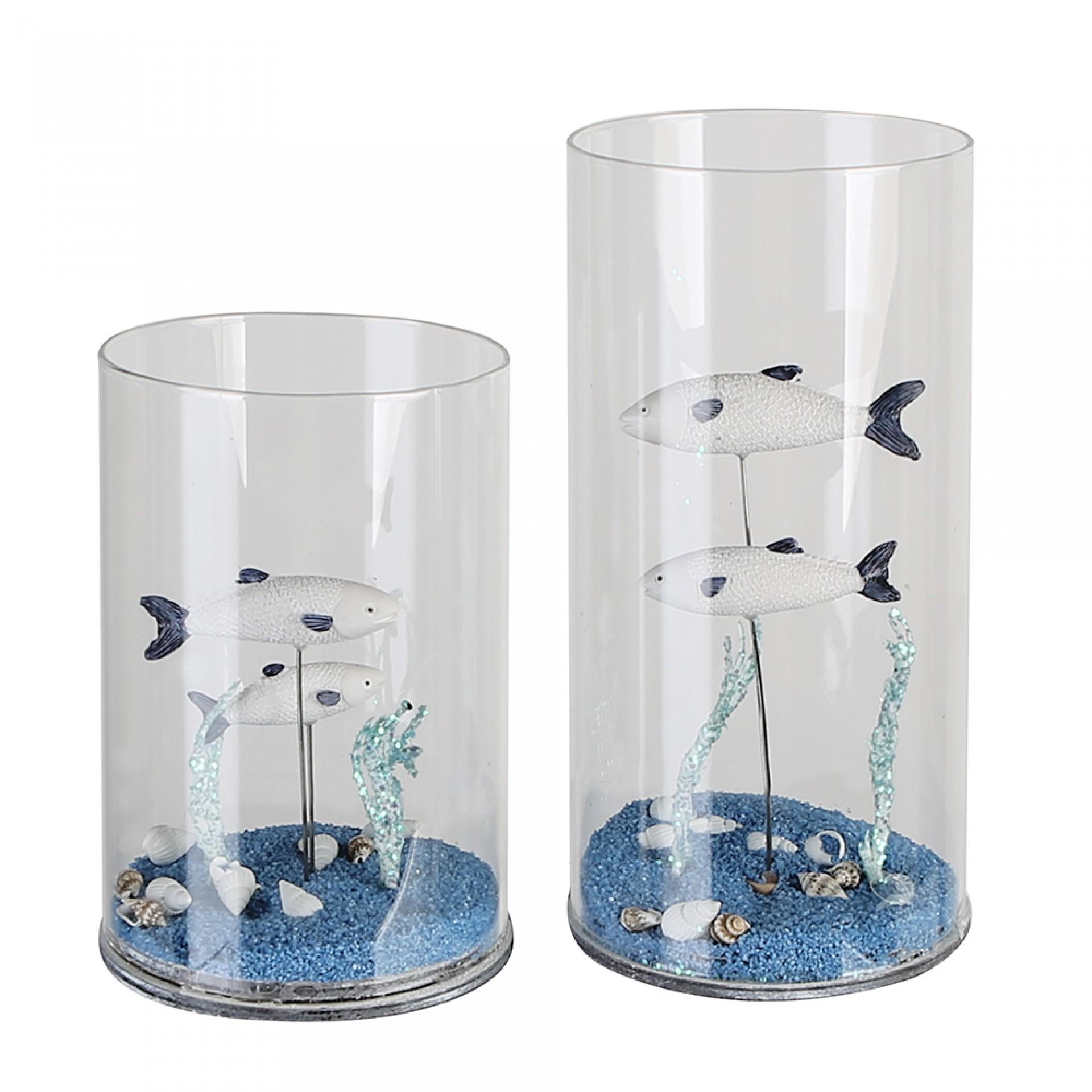 Skleněná dekorace Aquarium, 20 cm, vícebarevná