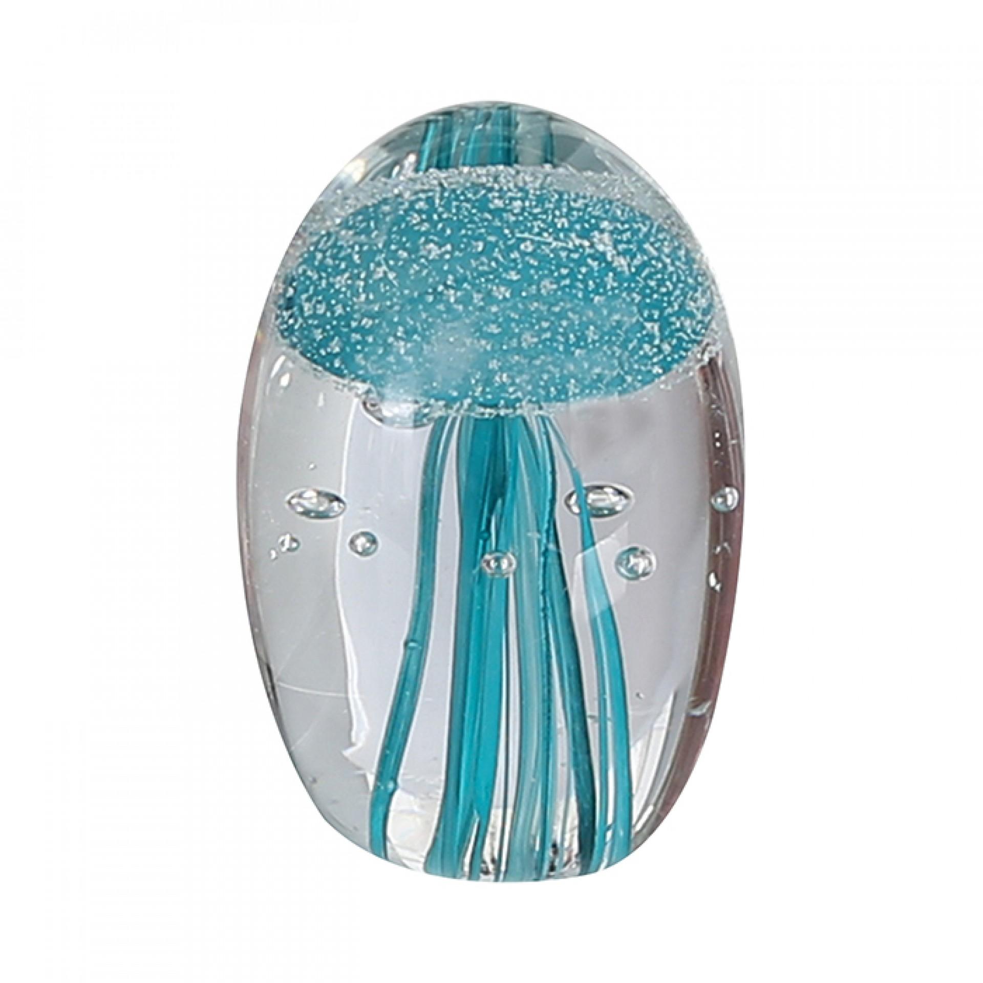 Skleněné těžítko Medúza, 8 cm, petrolejová