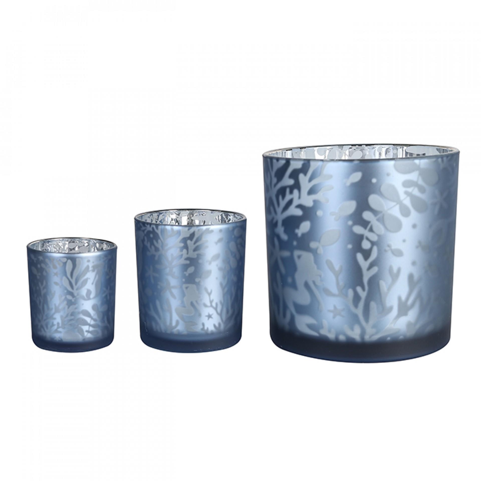 Skleněný čajový svícen Seaworld, 10 cm, modrá/stříbrná