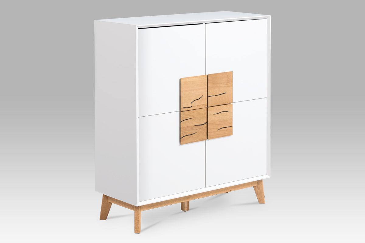 Skříň čtyřdveřová Kristen, 100 cm, bílá/dub