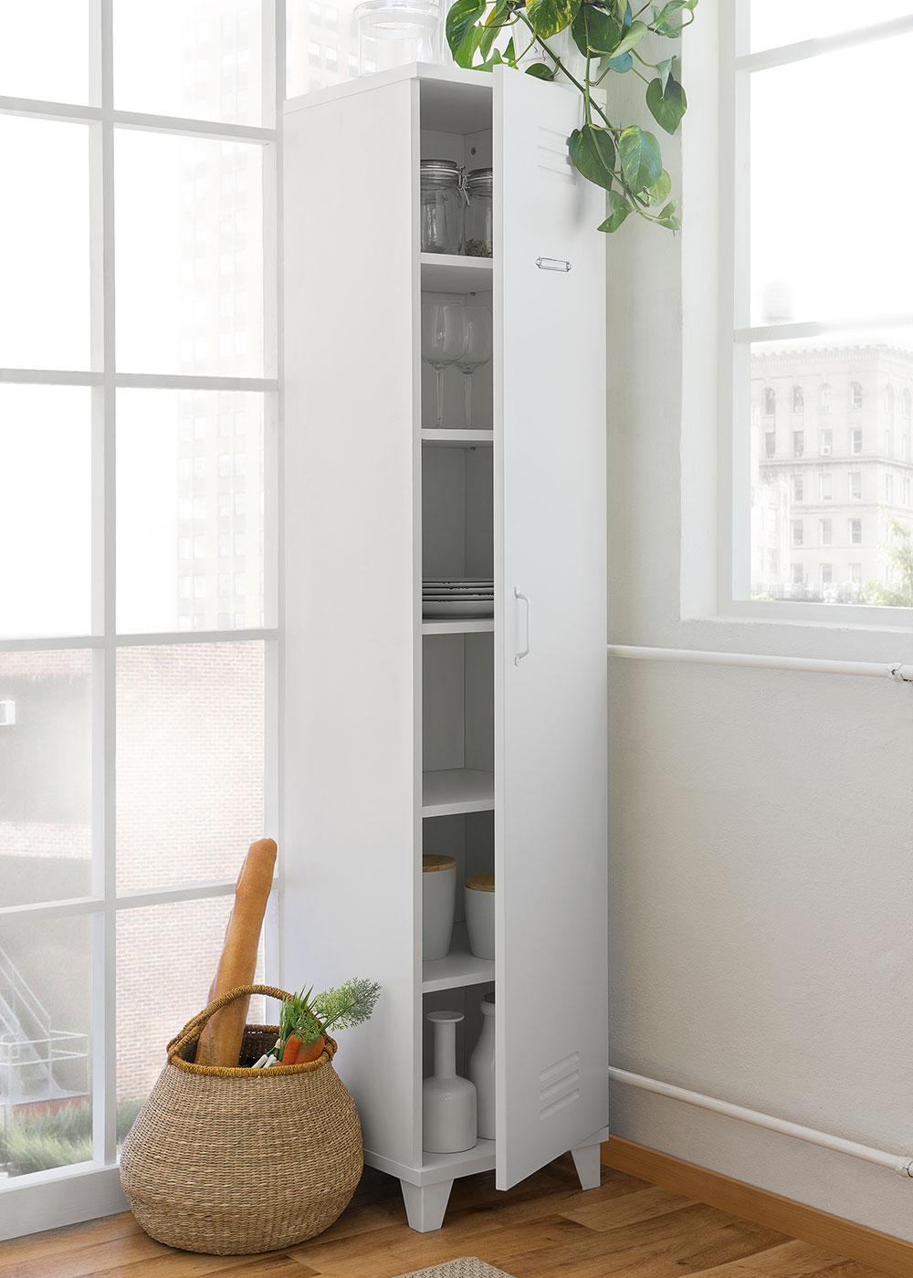 Skriňa s dverami vysoká Industry, 193 cm, biela