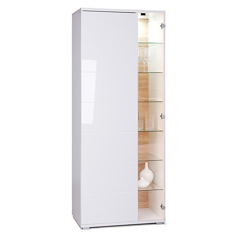 Skriňa / vitrína s LED diódami Glory, 191 cm, biela / dub