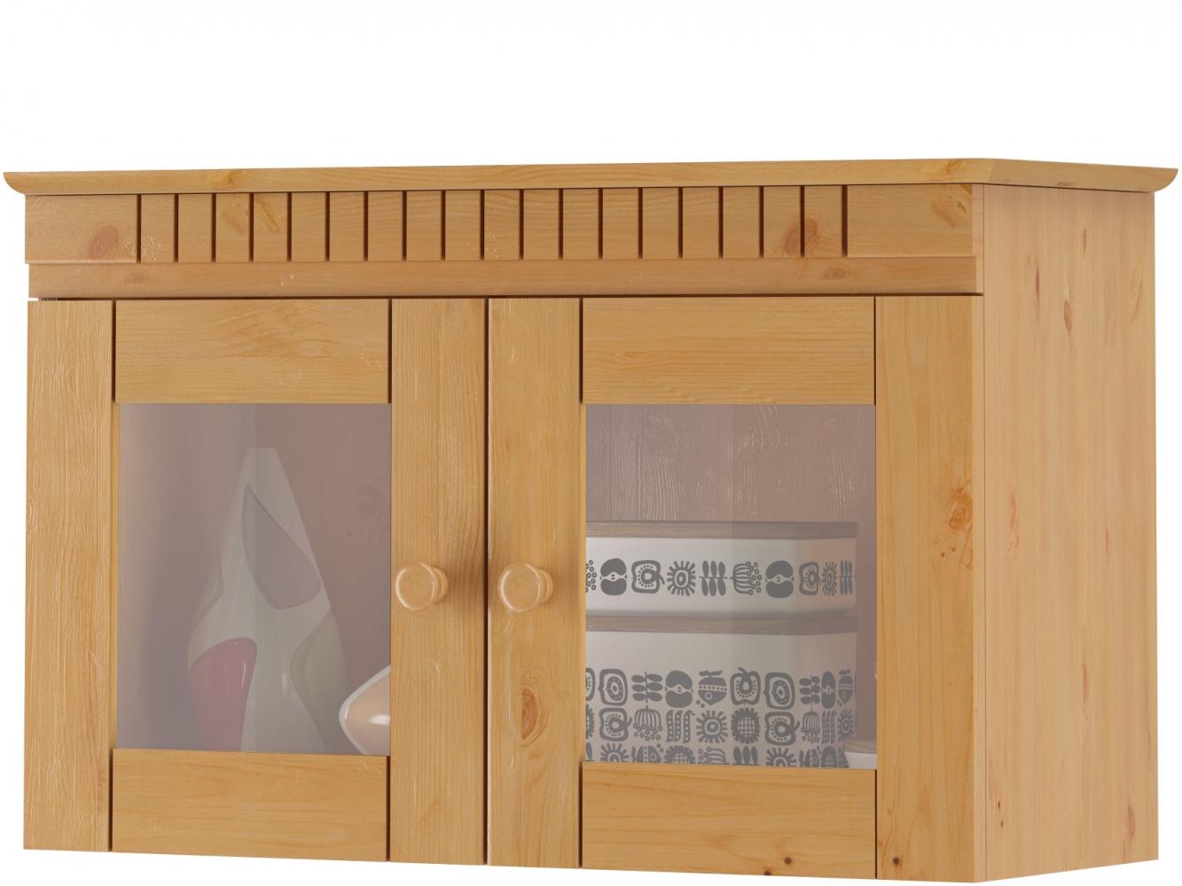 Skříňka Brix, 70 cm, borovice / sklo