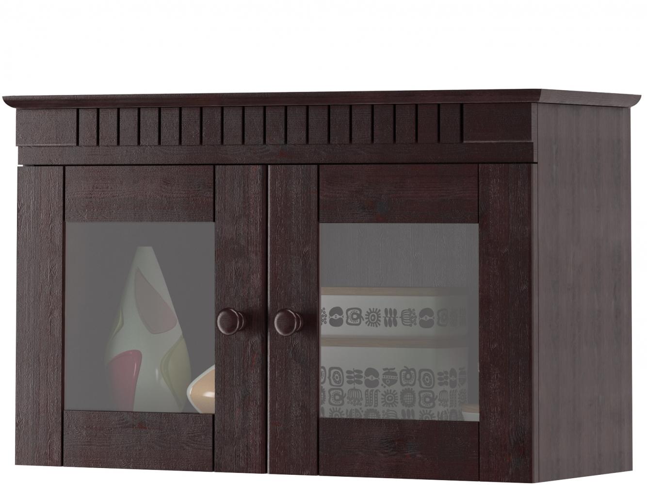 Skříňka Brix, 70 cm, tmavě hnědá / sklo
