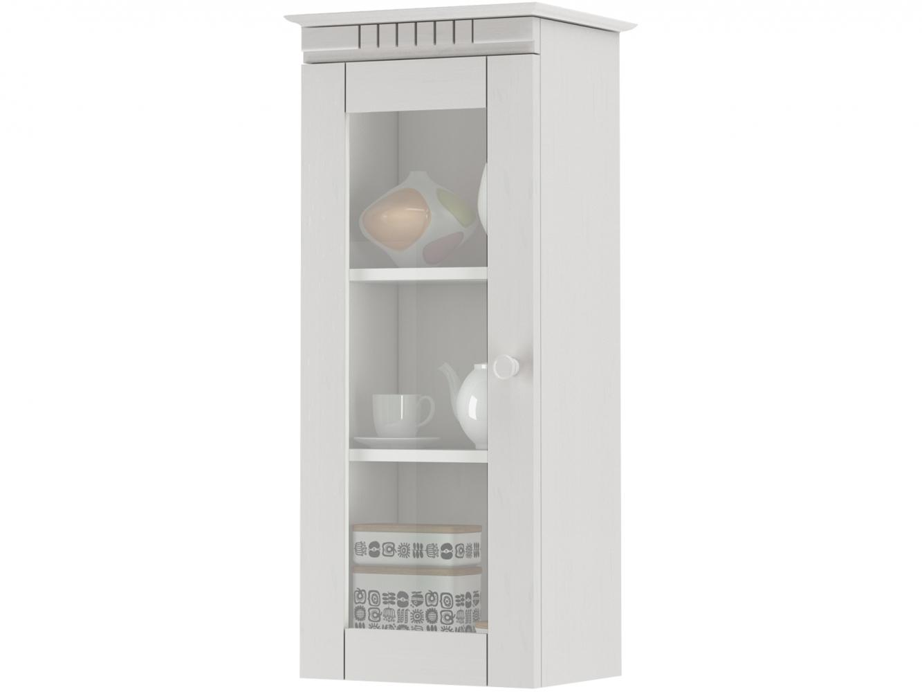 Skříňka Brix, 85 cm, bílá / sklo