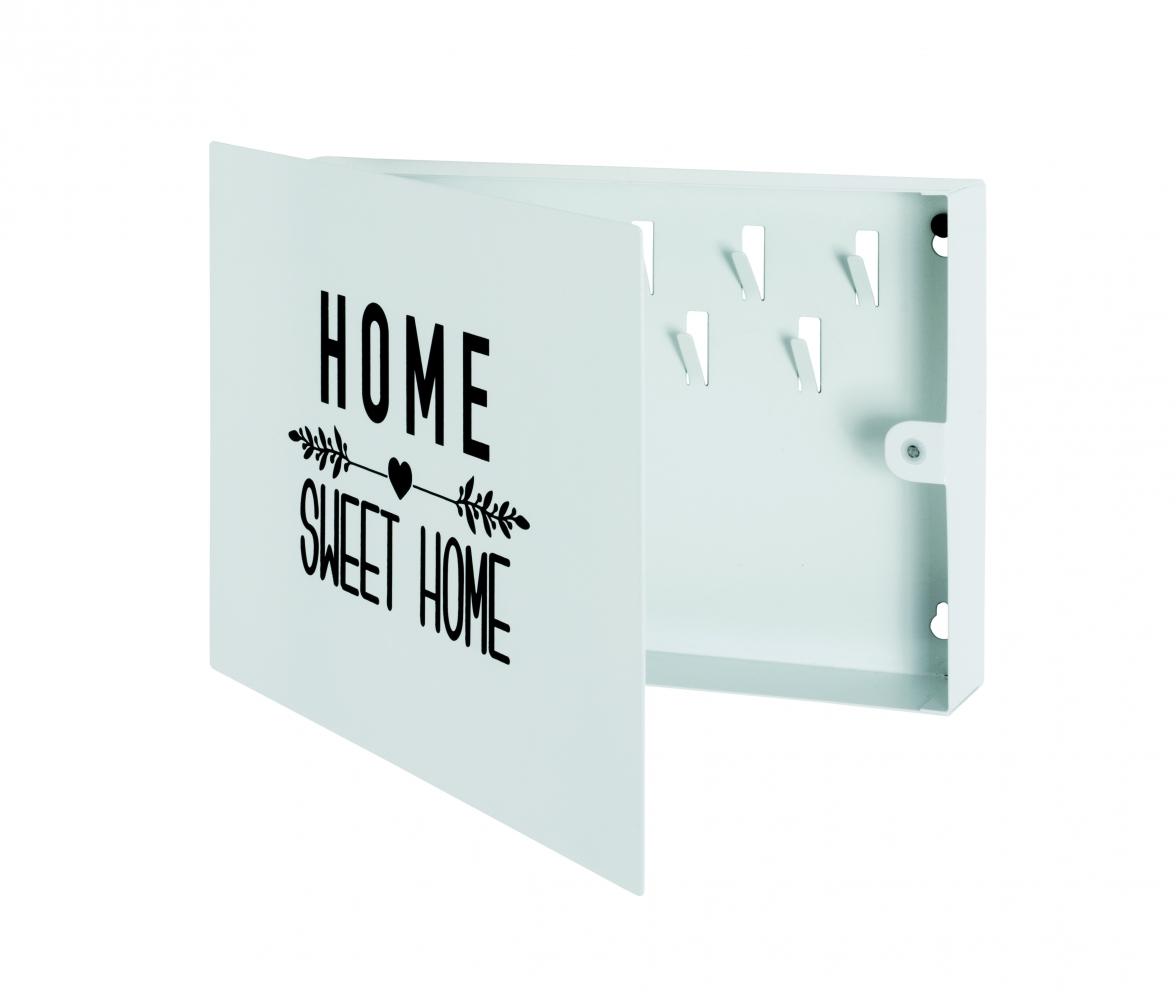 Skříňka na klíče Home, 28 cm, bílá