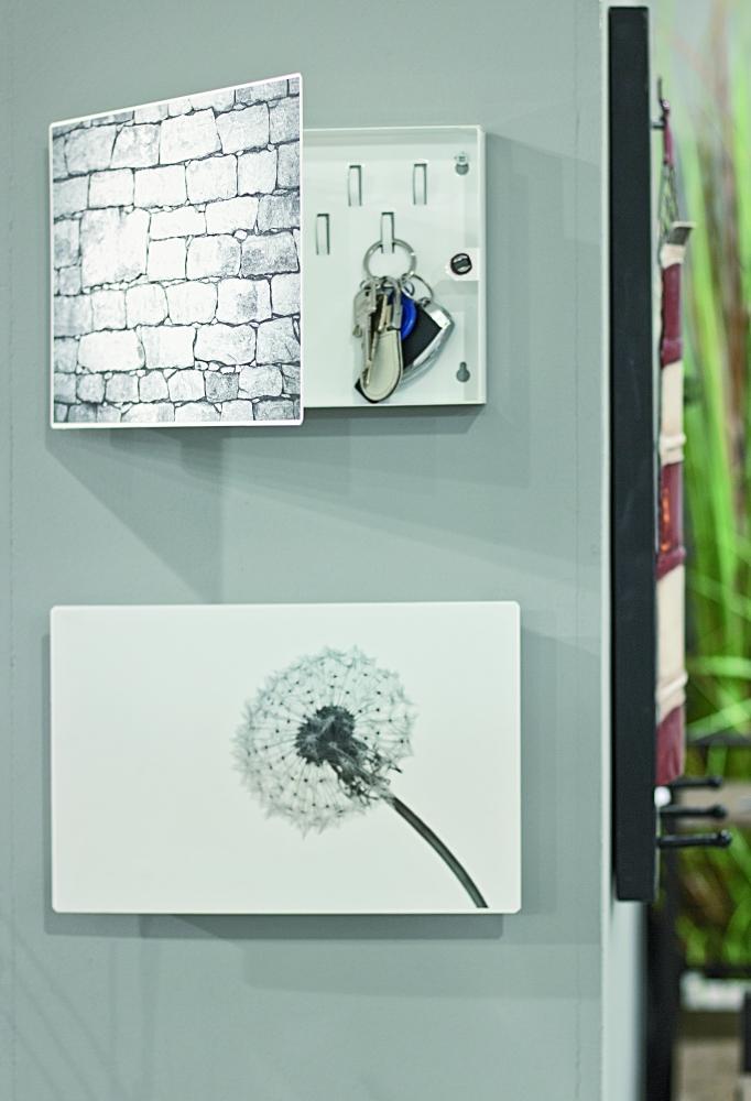 Skříňka na klíče Pamp, 28 cm, bílá