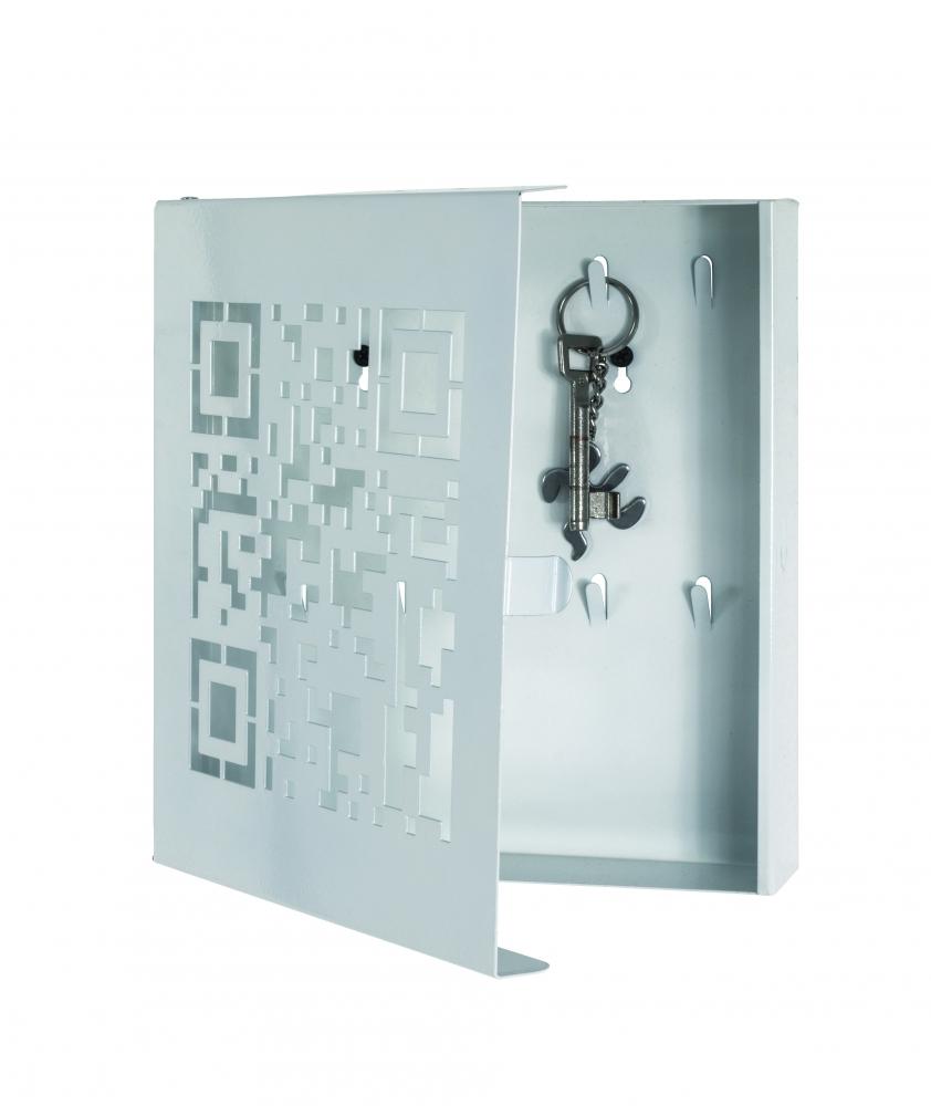 Skříňka na klíče Quinto, 24 cm, bílá