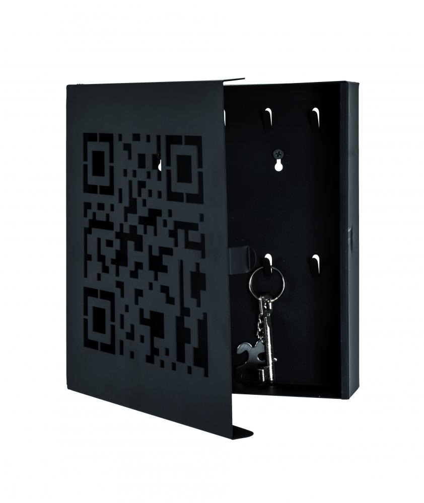 Skříňka na klíče Quinto, 24 cm, černá