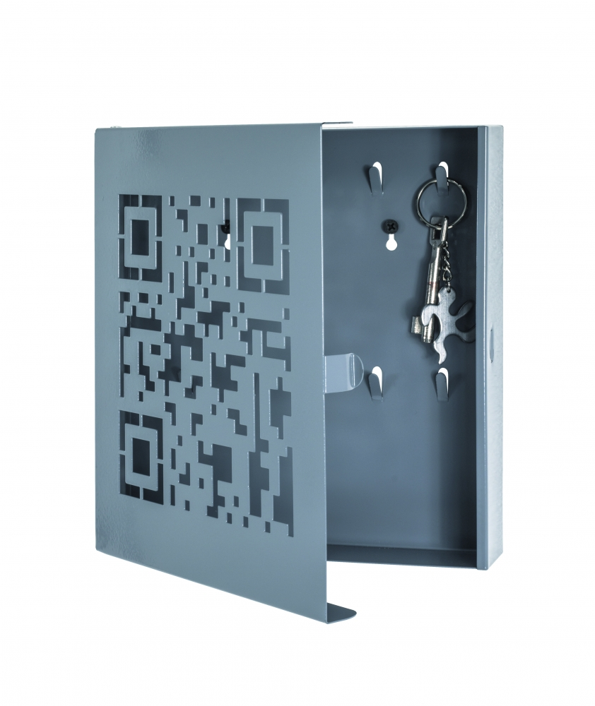 Skříňka na klíče Quinto, 24 cm, šedá