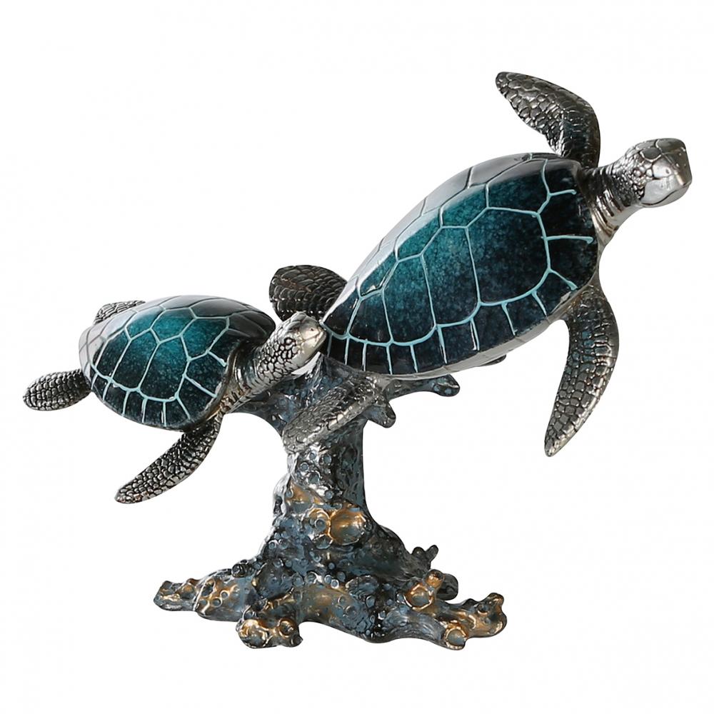 Socha Turtle, 24 cm, modrá / stříbrná