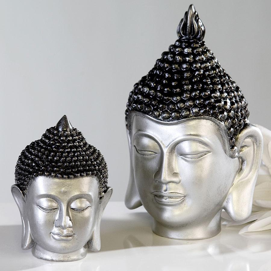 Soška Buddha hlava, 16 cm, stříbrná/antracit