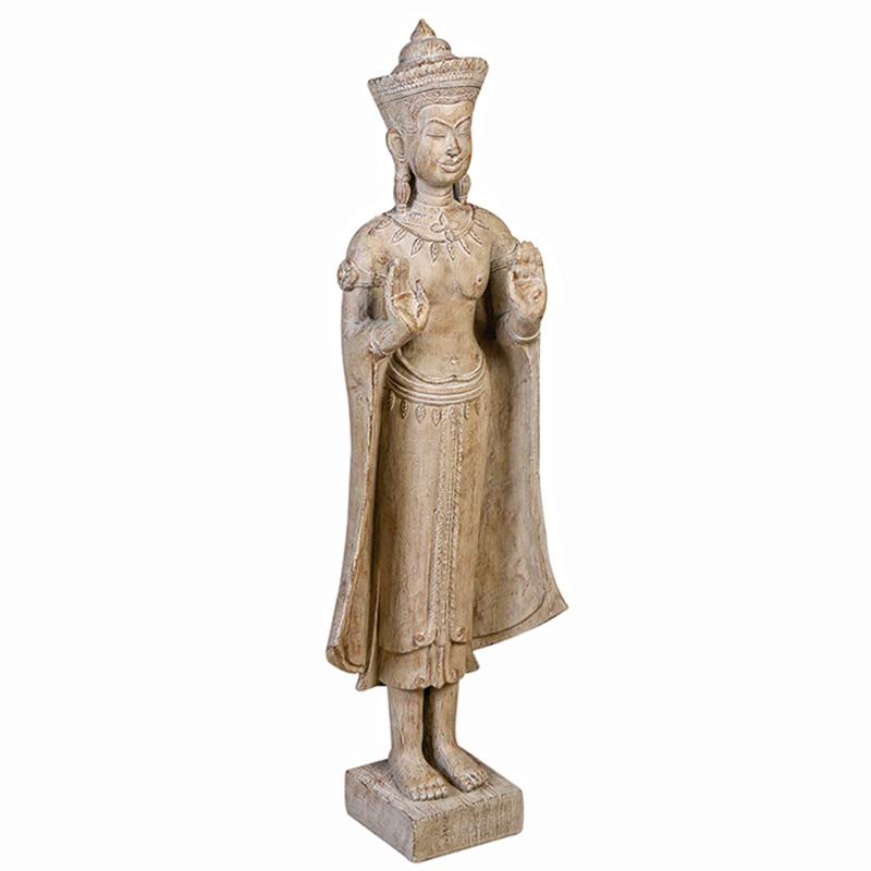 Soška Buddha v dřevěném designu, 92 cm, světle hnědá