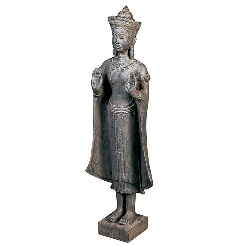 Soška Buddha v dřevěném designu, 92 cm, tmavě hnědá