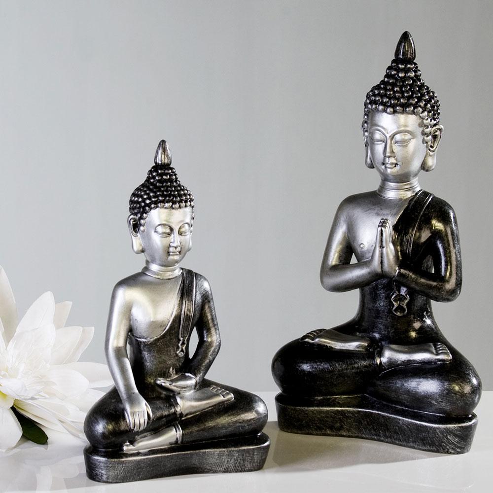 Soška Meditující Buddha, 29 cm, stříbrná/antracit