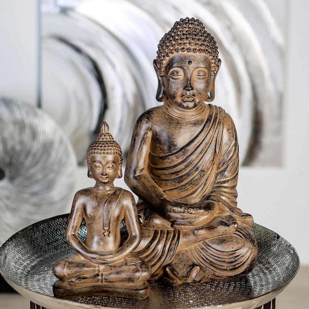 Soška Meditující Buddha, 42 cm, antik hnědá