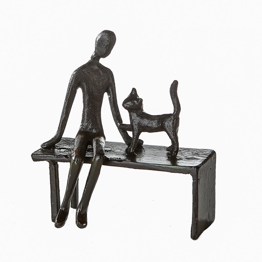 Soška Muž s kočkou, 12 cm