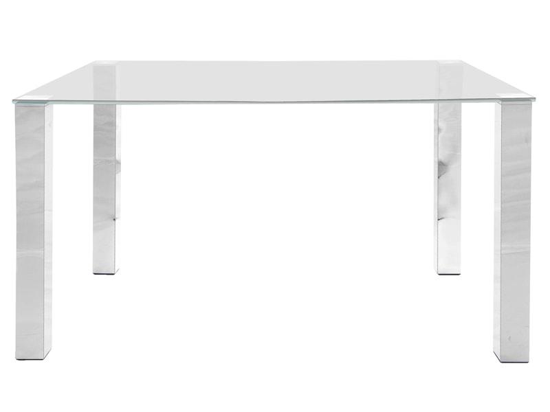 Stôl so sklenenou doskou Canton 140 cm, číre sklo, sklo / chróm