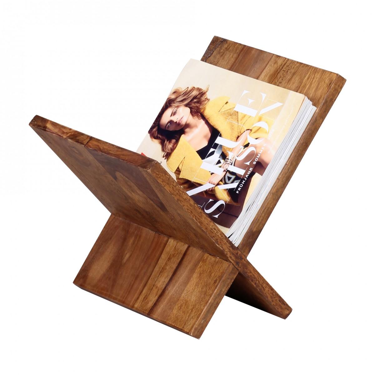 Stojan na časopisy Mumbai X-Form, 31 cm, masiv Sheesham