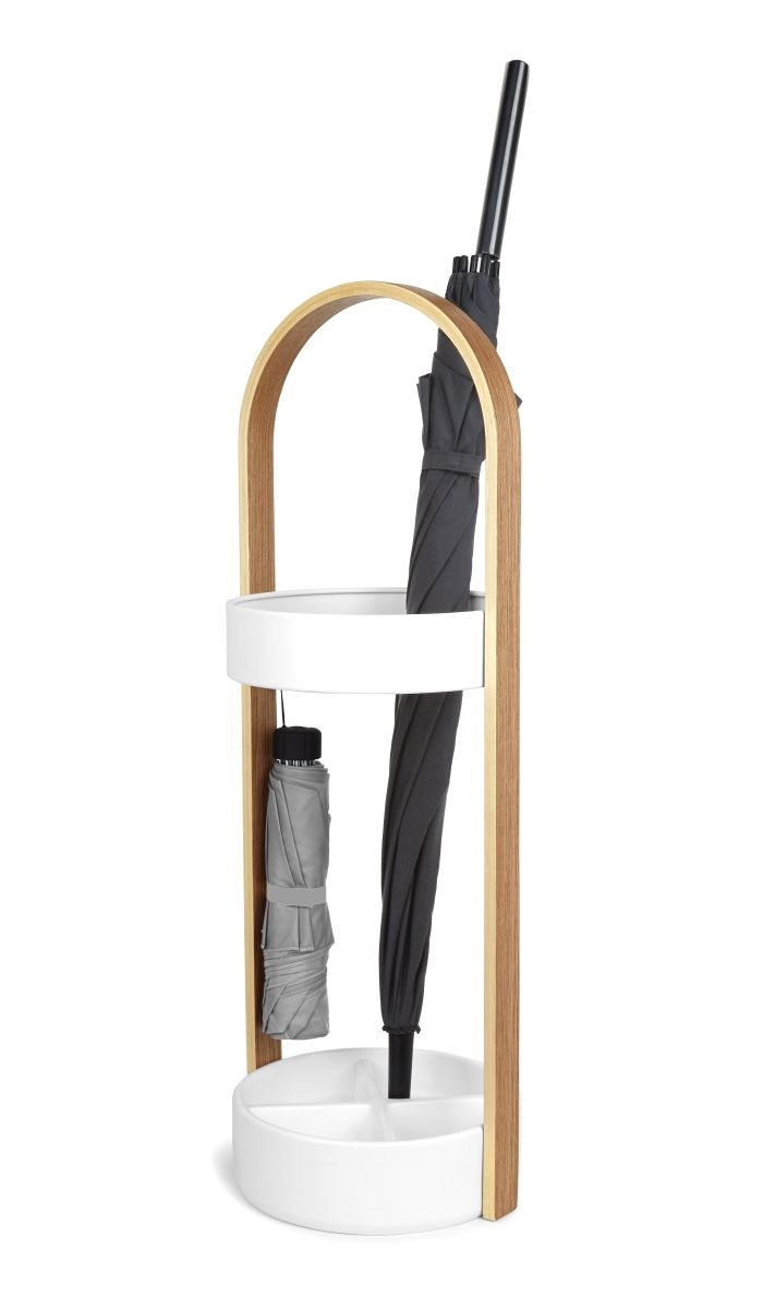Stojan na deštníky Paraply, 69 cm, dřevo/bílá