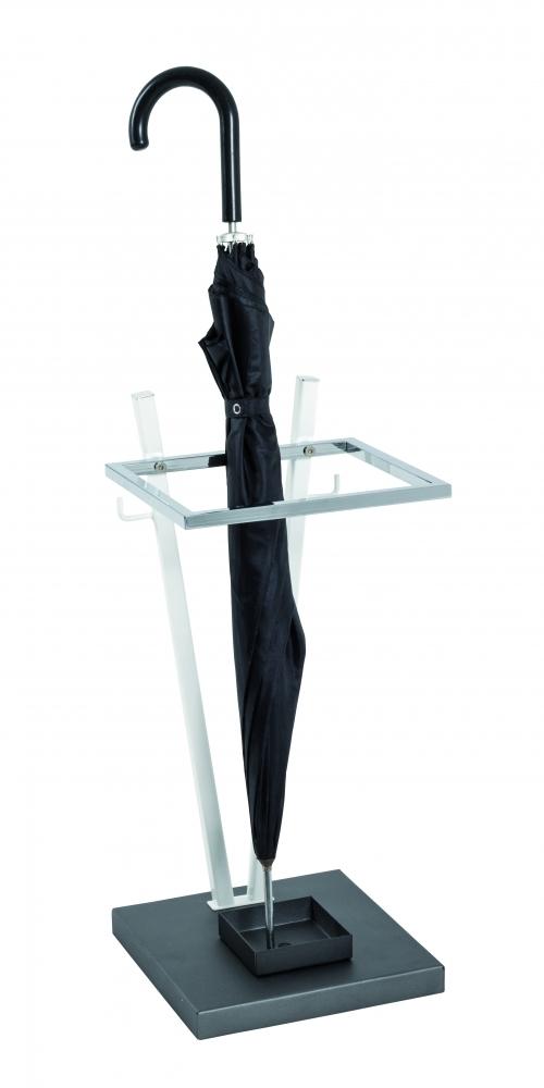 Stojan na deštníky Raino, 55 cm, bílá / chrom