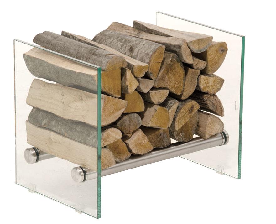 Stojan na dřevo Gunar, 50x40 cm, čiré sklo