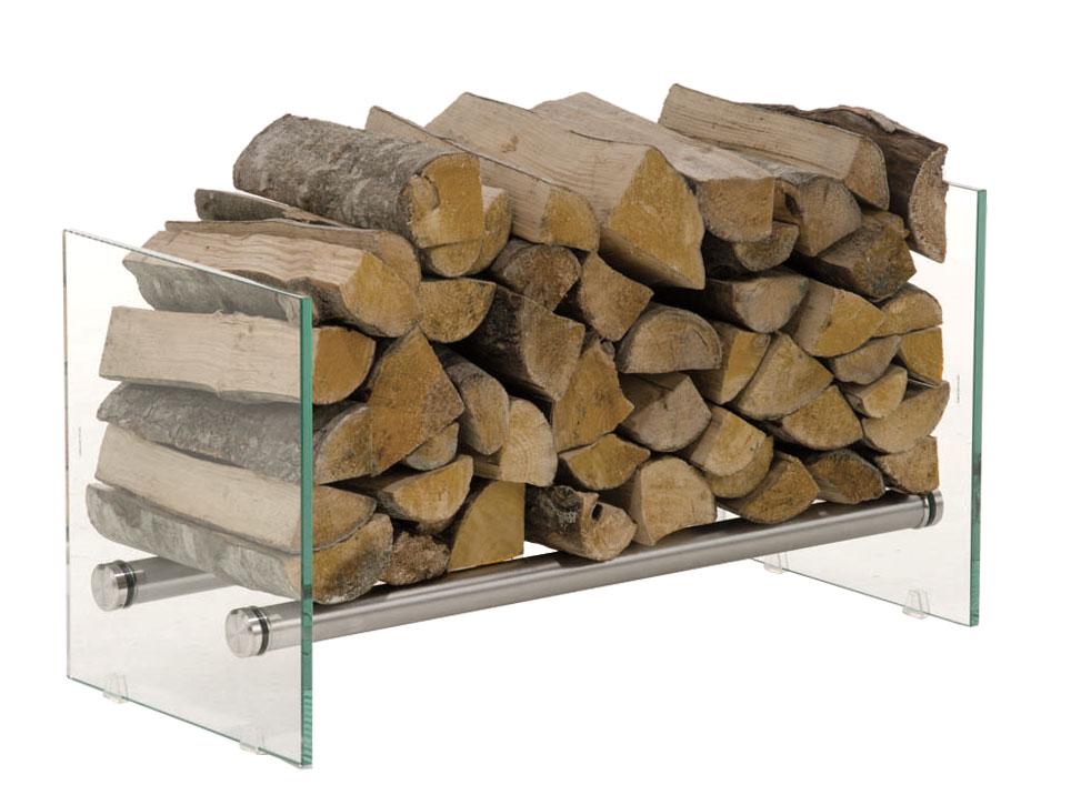 Stojan na dřevo Gunar, 75x40 cm, čiré sklo