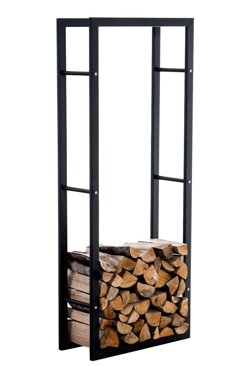 Stojan na dřevo Karin, 60x150 cm, matná černá