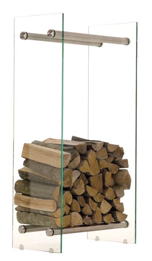 Stojan na dřevo Malin, 40x100 cm, čiré sklo