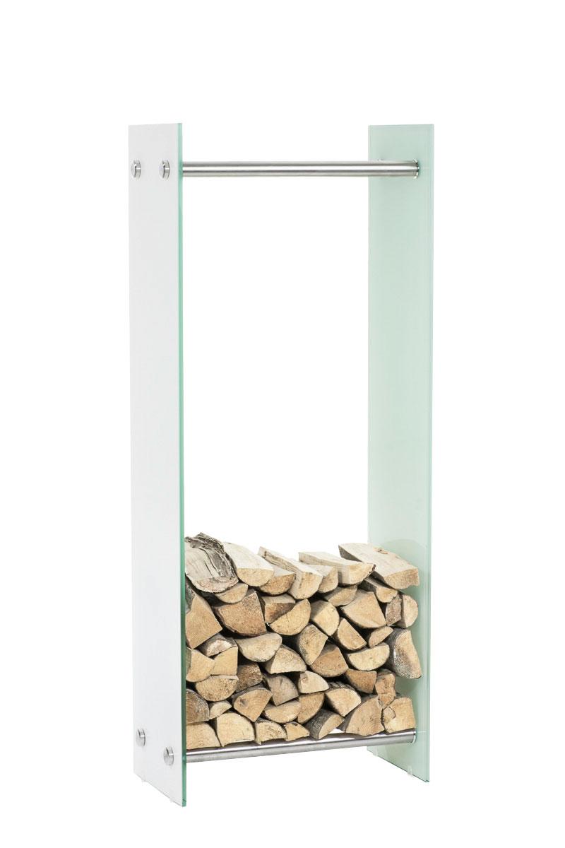 Stojan na dřevo Malin, 40x150 cm, bílé sklo