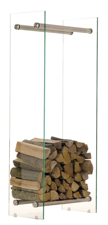 Stojan na dřevo Malin, 40x150 cm, čiré sklo