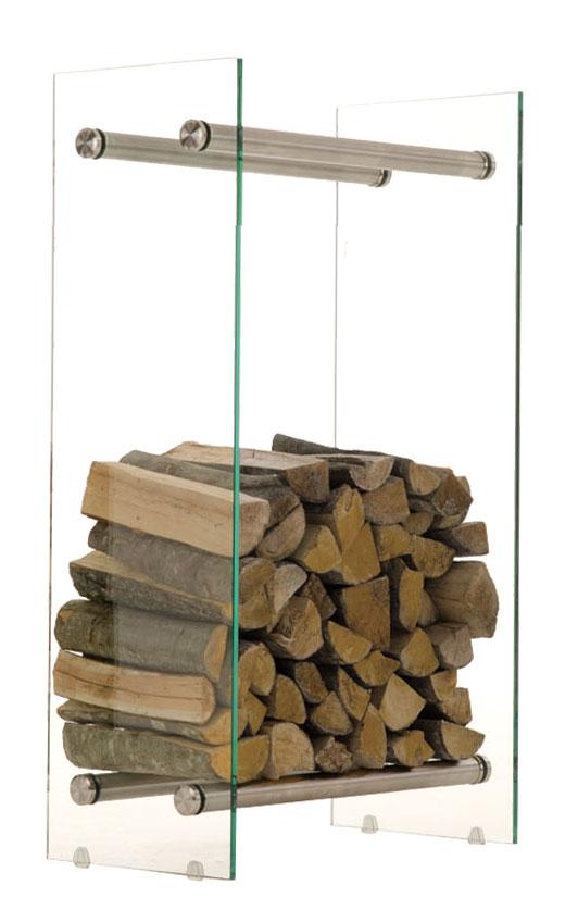 Stojan na dřevo Malin, 40x80 cm, čiré sklo