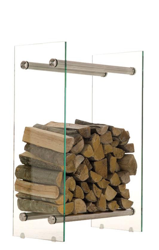 Stojan na dřevo Malin, 60x60 cm, čiré sklo